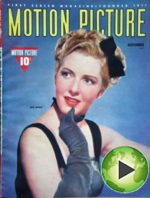 Jean Arthur on the cover of Motion Picture Magazine with the Panopto logo added to the lower right corner.