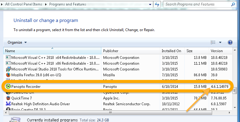 Windows program manager showing Panopto version number in the far right column